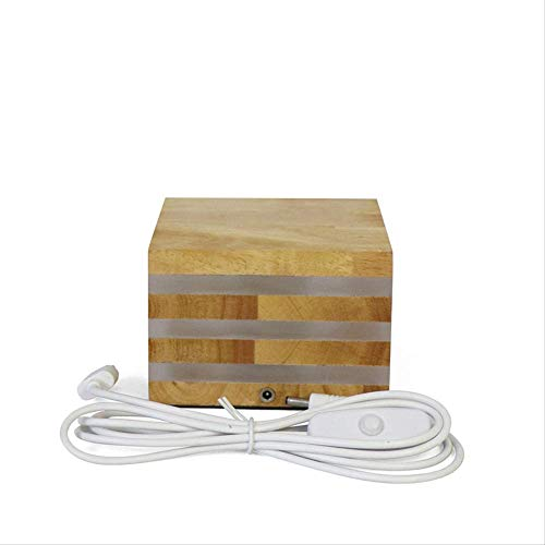 Creative Solid wood LED small night light wood table lamp square USB charging bedroom bedside lamp