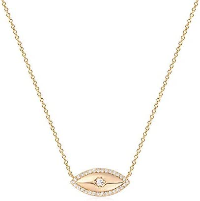 Mevecco Gold Dainty Evil Eye Necklace for Women 18K Gold Plated Cute Tiny Solitaire Cubic Zirconia product image