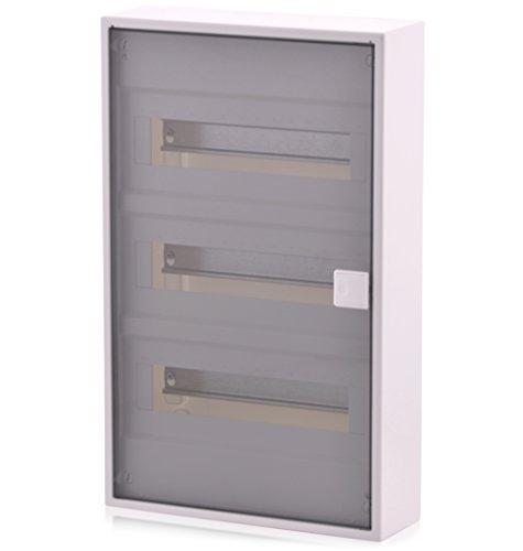 Sicherungskasten 3 reihig für 36 Module Aufputz mit DIN Schiene transparente Tür IP40 für die Trockenraum Installation im Haus