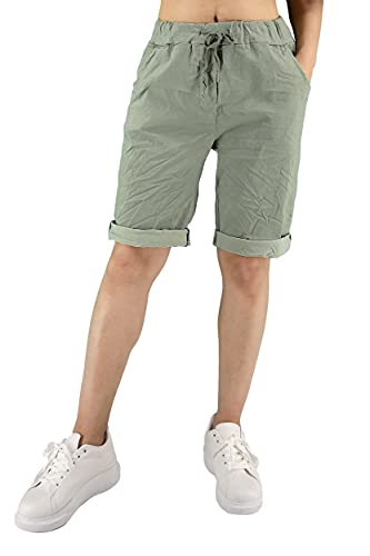 JOPHY & CO. Pantaloni Bermuda Tinta Unita Donna (cod. 3006) (Militare, S)