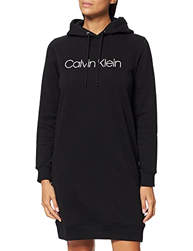 Calvin Klein Damen CORE Logo LS Hoodie Dress Kleid, Ck Schwarz, Small