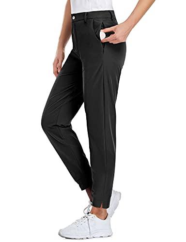 Koscacy Womens Golf Pants Casual Black Capri Pant for Women Lightweight Quick Dry Workout Slacks with Zipper Pockets (Black, Small)