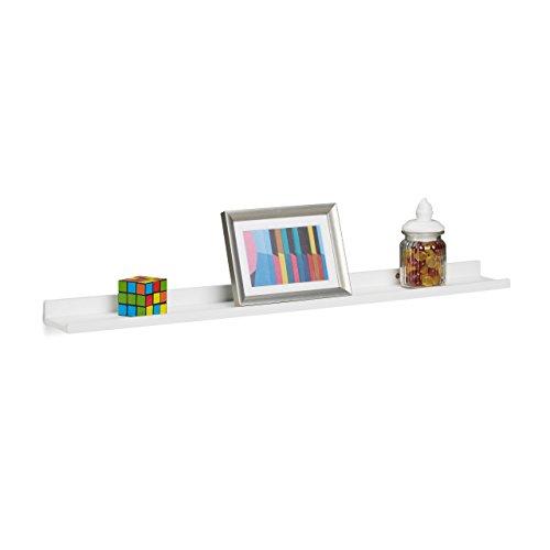 Relaxdays Hängeregal schmal, längliches Schweberegal für die Wand, Wandboard schwebend, MDF, HxBxT: 3,5x80x10cm, weiß