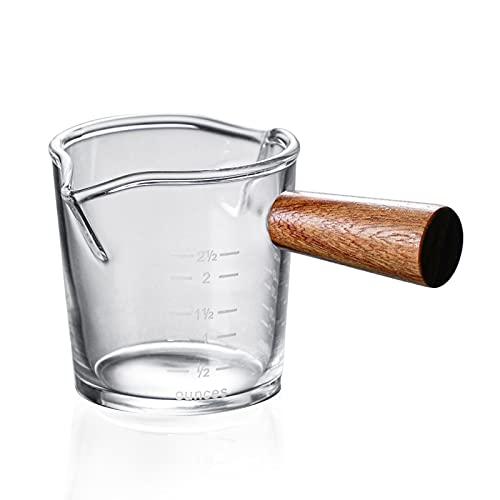 BULABULA Taza de cristal resistente al calor con copa de leche con mango de madera, copas de cristal de borosilicato.