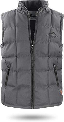 normani Herren Outdoor Winter-Steppweste mit Kapuze und Stehkragen Farbe Anthrazit Größe XXL