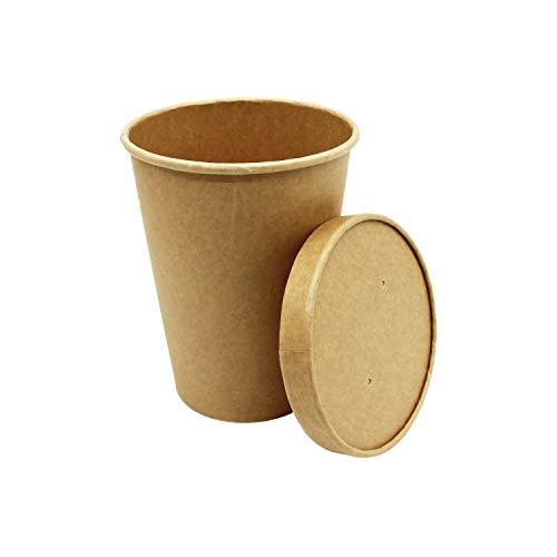 BAMI EINWEGARTIKEL Suppenschale | Suppenbecher | Suppenterrine | Soup to Go | Thermobecher | Einwegbecher aus Pappe, 32oz / 950ml, Braun | 100 Becher + 100 Deckel