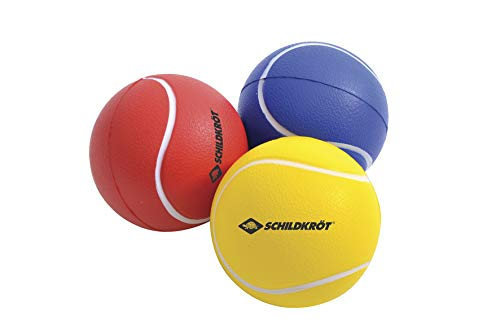 Schildkröt Soft Bälle, 3er Set (gelb, rot, blau), Ø7cm, weicher PU-Schaum, guter Absprung, für Beachball, Beachtennis etc., 970046