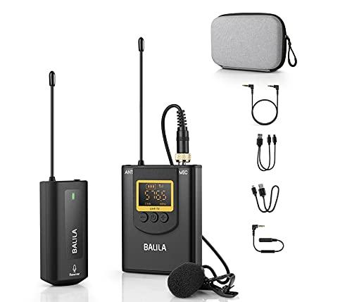 Microfono Inalambrico Profesional para Móvil,Cámara- UHF Sistema de Micrófono de Solapa Inalámbrico Recargables con 1 Transmisores y 1 Receptor para Grabar Entrevista Youtube Podcast Vlog - BALILA
