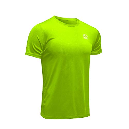 MEETWEE Sportshirt Herren, Laufshirt Kurzarm MeshFunktionsshirtAtmungsaktivKurzarmshirt Sports Shirt TrainingsshirtfürMänner (Grün, L)