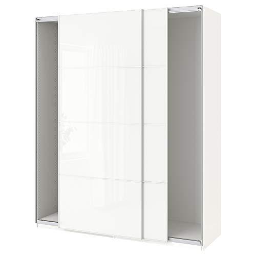 PAX garderob med skjutdörrar 200 x 66 x 94 tum vit/Färvik vitt glas