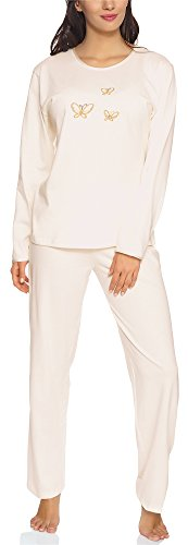 Merry Style Pijamas Conjunto Camisetas y Pantalones Ropa de Cama Manga Larga Mujer 91LW1