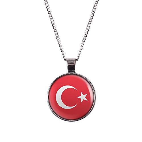 Mylery Hals-Kette mit Motiv Türkei Türkiye Flagge Silber 28mm