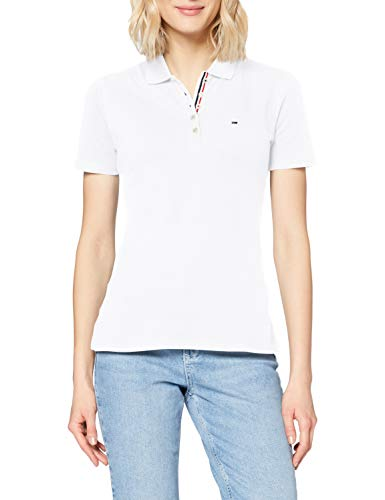 Tommy_Jeans Tjw Original Basic Polo, Polo Mujer, Blanco (Classic White 100), Large