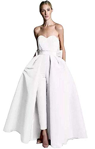 VeraQueen Women's Sweetheart Jumpsuits Evening Dresses with Detachable Skirt Prom Gowns Pants White