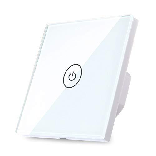 TEEKAR - Interruptor de luz inteligente por wifi, interruptor de luz, interruptor de luz Alexa Touch con receptor inalámbrico, 1 marcha, 10 vías, interruptor de pared
