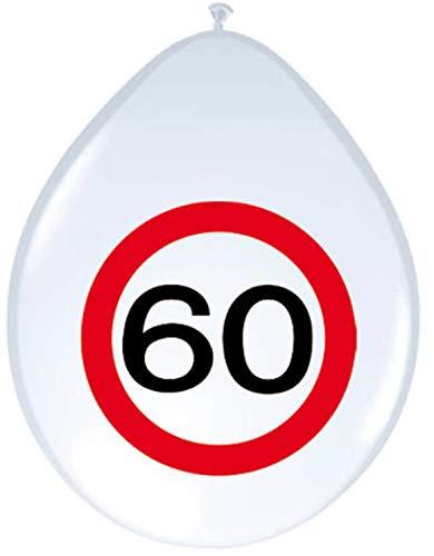 8 Luftballons Motiv Schild Zahl 60. Geburtstag Party Deko 60