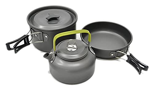 LHY Leichte Aluminiumlegierung Camping Kochgeschirr Geräte Outdoor Kochen Teekanne Picknick Geschirr Wasserkocher Topf Bratpfanne 3pcs / Set