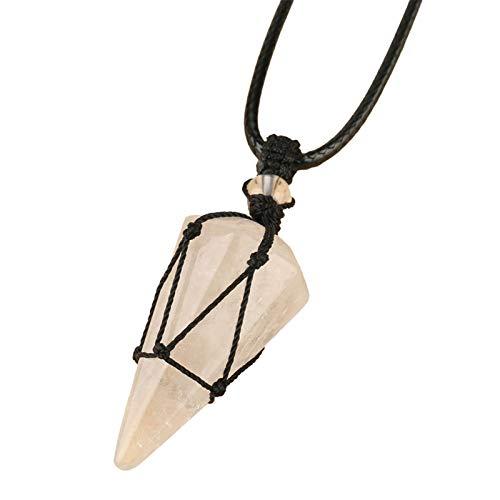 XPT Collar para Mujer Tejido A Mano Unisex De Cristal De Imitación Colgante Envuelto En Cuerda Negra para Uso Diario Regalo De Fiesta Cristal Blanco