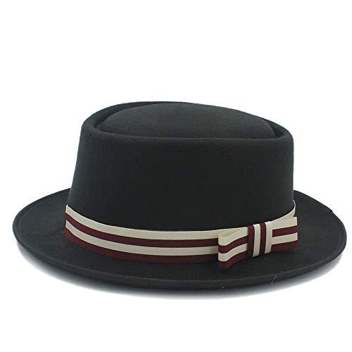Liyuzhu Las Mujeres Plana Homburg Fedpra Sombrero de Moda otoño Invierno Elegante Sombrero de Lana de Pork Pie Botero con el Punk cinturón Tocados Boda Invitada (Color : Negro, tamaño : 56-58cm)