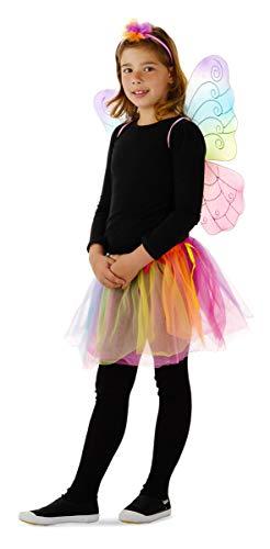 Folat 21826 Blumen-Fee-Rock mit Flügeln, Mehrfarbig, Einheitsgröße