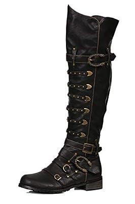 Ellie Shoes Men's 158-Wilbur Steampunk Costume Boots - Combat Shoes, Black Patent, L by Ellie Shoes Inc