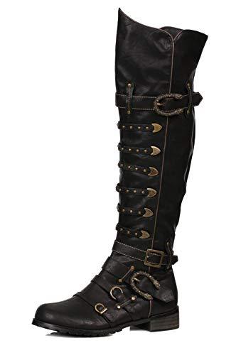 Ellie Shoes Men's 158-Wilbur Steampunk Costume Boots - Combat Shoes, Black Patent, S