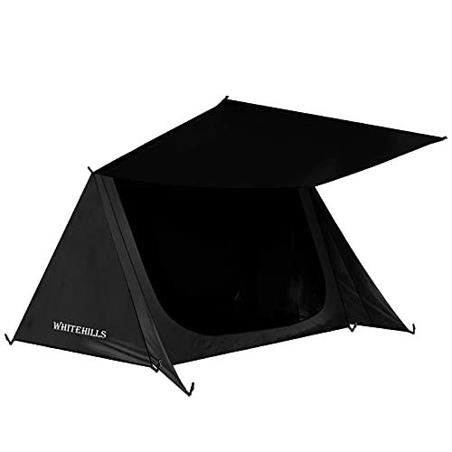 テント 1人用 パップテント ソロテント ツーリングテント 軍幕 小型テントWhiteHills 3シーズン コンパクト 収納バッグ付き 設営簡単 通気性 防雨 防水 防災 超軽量 ハイキング 釣り 黒い