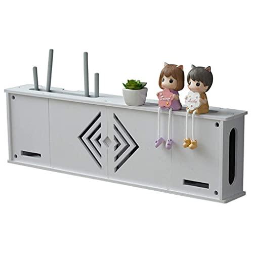 GAXQFEI Caja de Alenamiento Enrutador Caja de Alenamiento Wifi Conjunto de Tv-Top Rack Wifi Rack Punch-Free Set-Top Rack Cat Wifi Rack,Blanco,76 * 10.5 * 22Cm