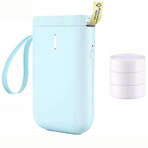 Impresora De Etiquetas Térmica Bluetooth Mini Fabricante Portátil con 3 Rollos De Papel De Etiquetas, para El Hogar, La Escuela, El Supermercado, La Tienda, Los Códigos De Barras De Etiquetado,Azul