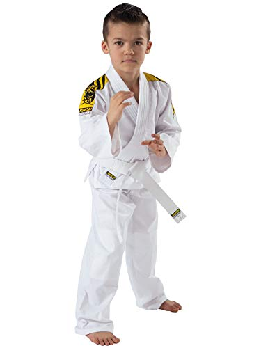 KWON Judo junior - Kimono de artes marciales infantil, tamaño 140 cm, color blanco