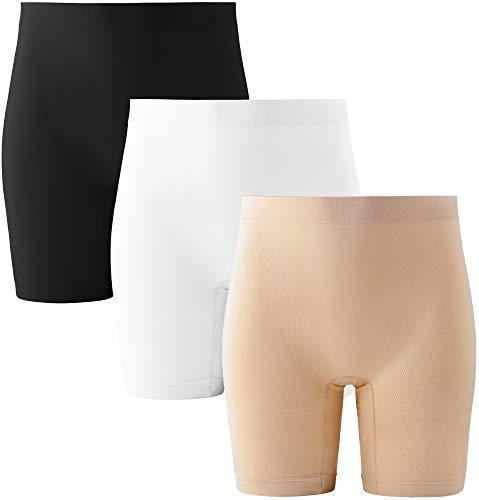 INNERSY Short Femme sous Jupe Legging Court Eté Anti Frottement Seamless Shorty Boxer Lot de 3 (L, Noir/Blanc/Beige)