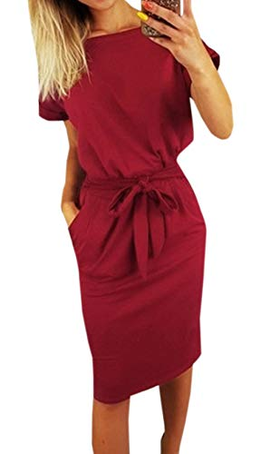 Ajpguot Damen Freizeit Kleid mit Gürtel Elegant Rundhals Midi Kleider Blusenkleider Ballkleid Festkleid Frauen Langarm Tasche Wickelkleider Abendkleider Partykleid (M, Rotwein 1)