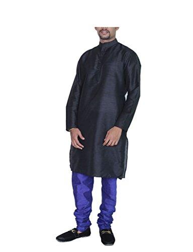 Kurta Royal Men's aMG Silk Pyjama 44 Black Blue