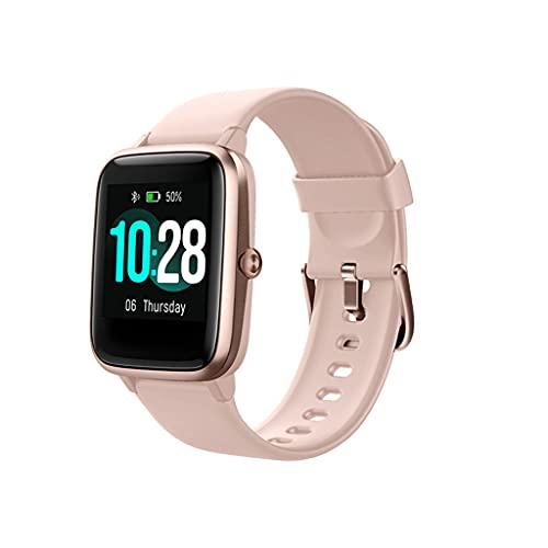 DSJMUY Reloj Inteligente Mujer Y Hombre,Smartwatch Impermeable IP68 Actividad Deportivo con Monitor De Sueño,Pulsómetro,Completa Reloj Fitness para Android Y iOS(Rosa)