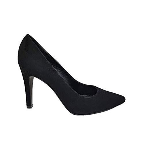 Mezquita - Salones Stilettos de Vestir para Mujer en Piel con Punta Fina y Tacon Alto Fino de 10 cm - Hechos en España - Moda Zapatos Tacones Elegantes - Ante Negro - Negro 39 EU