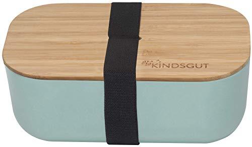 Kindsgut Große Brotdose mit Deckel aus Bambus, Brotbox mit Gummiband, ideal für den Kindergarten und unterwegs, 1100ml, Aquamarin