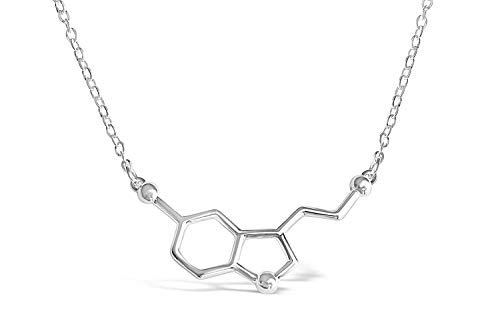 BGTY Sterling Silver Happiness Serotonin Molecule Necklace for Women, Happy Serotonin Necklace, Science Jewelry for Women, Ideal Necklaces for Teacher, Professor, Chemistry Grad, and Science Lovers