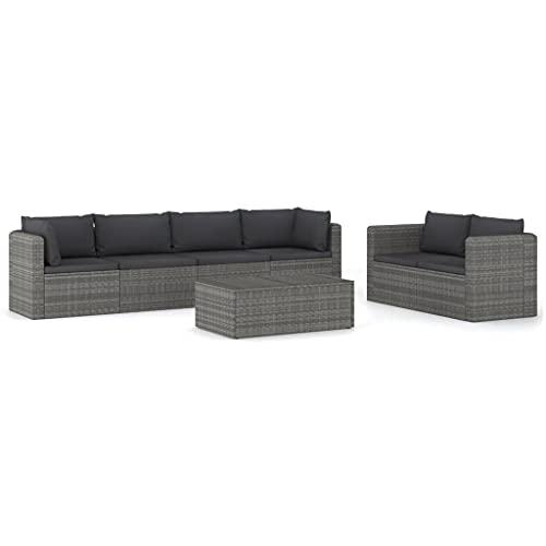 vidaXL - Set di 7 mobili da giardino con cuscini, mobili da giardino, mobili da esterni, in resina intrecciata, colore: Grigio