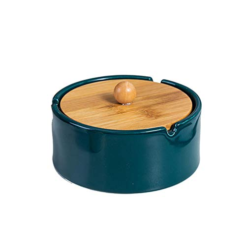 Cenicero de cerámica retro grande con tapa, ceniceros a prueba de viento para cigarrillos, cenicero de cigarrillos para el hogar o al aire libre, cenicero de cemento, el mejor regalo-azul