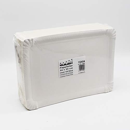 BAMI EINWEGARTIKEL 125 Stück Pappteller 24x34cm Kuchenteller Pizzateller Imbissteller Partyteller, weiß, eckig, Frischfaser