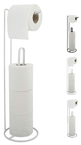 MSV Toilettenpapierhalter Stehend BxHxT: 15x54x15cm freistehender Papierrollenhalter Edler Rollenhalter für WC-Rollen als Ersatzrollenhalter Weiß matt