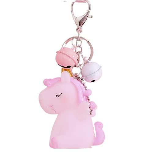 Llavero de unicornio colgante de unicornio de dibujos animados lindo bolso de la escuela llavero colgante de coche mochila colgante joyería (rosa)