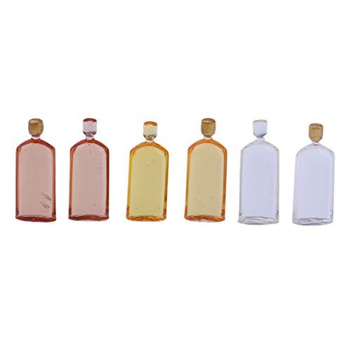 chiwanji 6 Piezas Coloridas Botellas de Whisky Casa de Muñecas en Miniatura Escenas de La Vida Decoración Accesorio