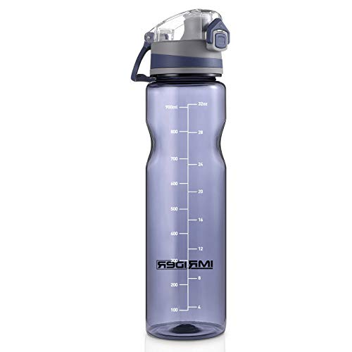 IMRIDER 32oz Sports Water Bottle,BPA Free TRITAN Reusable Plastic, Flip Top Lid,Large Spout, Fit in Holders, for Gym Outdoor Sports