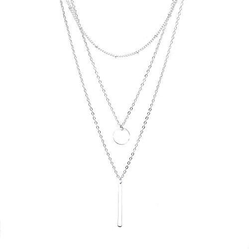 Zodiac Halskette Damen Modeschmuck, Halskette Choker Mehrreihig Kette mit Anhänger, Geburtstag Geschenk für Frauen Mädchen Mutter Freundin, Silber