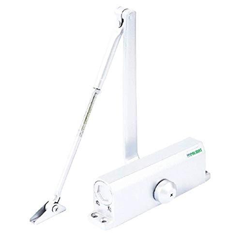 PALMAT - Cierrapuertas Hidráulico Automático – Ajustable, Cierre Automático, Ideal para Hogar y Comercial, Brazo Normal, Con Retenedor (80-120 Kg, Blanco)