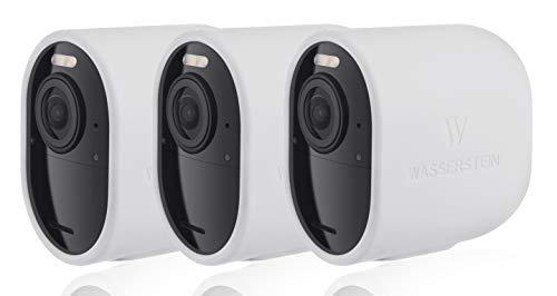 Fundas de Silicona Protectoras compatibles con cámara de Seguridad Arlo Ultra – Decora y Protege tu cámara Arlo (Blanco – Pack de 3)