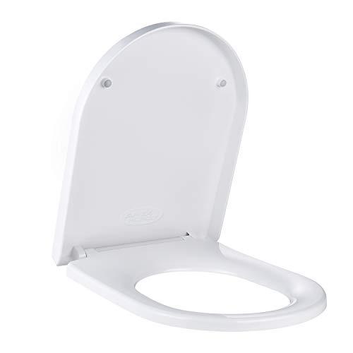 Sedile WC U Forma, APEXFORGE Copriwater Universale PP Polipropilene Chiusura Ammortizzata Installazione Rapida Pulizia Facile Tavoletta WC Bagno Bianco-ATSTY11