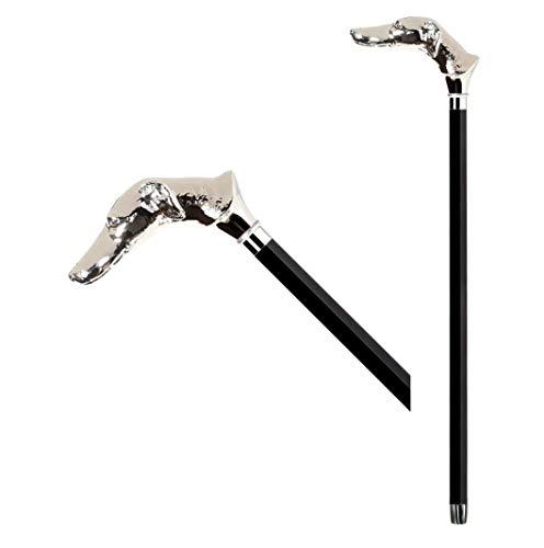 BancarellaOnLine Bastón de paseo de madera para hombre y mujer ancianos perro galgo muleta para caminar 91 cm artesanal