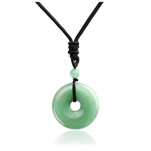 Top Plaza Reiki Healing Crystal Gemstone Green Aventurine Necklace Adjustable Protection Lucky Coin Pendant Necklaces Amulet Jewelry for Women Men